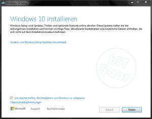 Umstellung auf Windows 10 - sollen Updates für das Upgrade heruntergeladen werden?