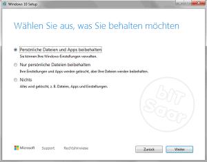 Umstellung auf Windows 10 - Auswahl der Altdaten