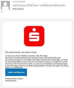 Phishingversuch Onlinebanking