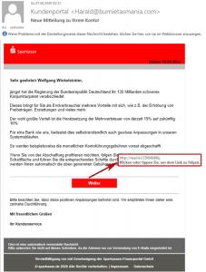 Pishing-Mail Sparkasse