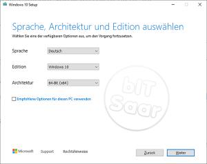 Umstellung auf Windows 10 - Auswahl Sprache, Version und Architektur