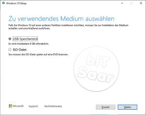 Umstellung auf Windows 10 - Auswahl ob Stick oder ISO-Datei für DVD