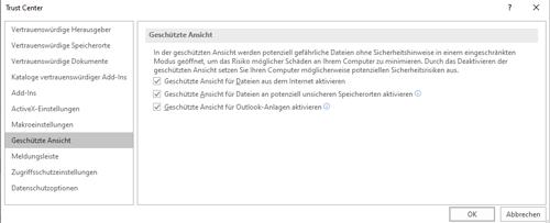 """MS Office - Einstellung """"Geschützte Ansicht"""""""