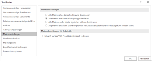 MS Office - Einstellung Makros