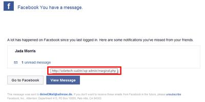 gefälschte Facebook-Nachricht