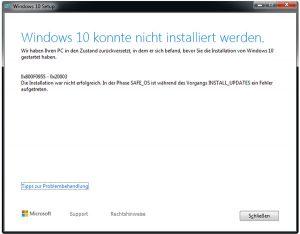 Windows 10 - Upgrade fehlgeschlagen